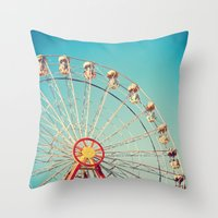 Ferris Wheel On Deep Blu… Throw Pillow