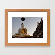 Buddha and Temple Architecture Framed Art Print