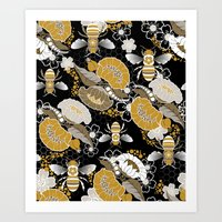 Beats N Bees - Black, Go… Art Print