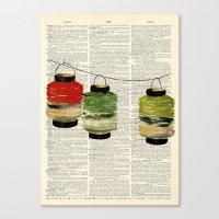Vintage Lanterns Trio Canvas Print