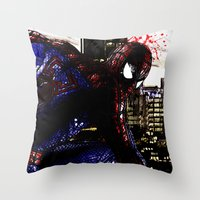 Spiderman In London Throw Pillow