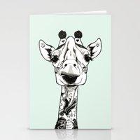 Giraffe Tattooed  Stationery Cards
