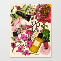 Nail Polish And Peonies  Canvas Print