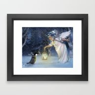 Framed Art Print featuring Angel Night by Illu-Pic-A.T.Art