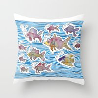 Colorful Swimming Throw Pillow