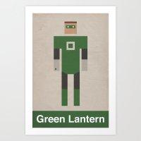Retro Green Lantern Art Print