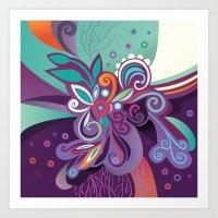 Floral Curves Of Joy Art Print