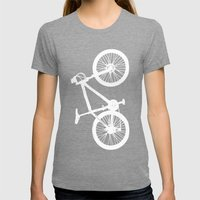 Mountain Bike Red Womens Fitted Tee Tri-Grey SMALL