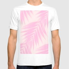 Palm Leaves in Pink Shades  Mens Fitted Tee White SMALL