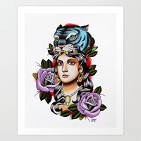 PaperTigress Girl With T… Art Print