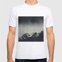 Misty dark Mountains Mens Fitted Tee Ash Grey SMALL