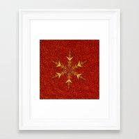 Golden Snowflake On Red … Framed Art Print