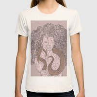 Snake and Sprite: Pink Womens Fitted Tee Natural SMALL