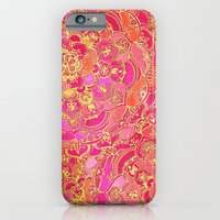 iPhone Cases featuring Hot Pink and Gold Baroque Floral Pattern by micklyn