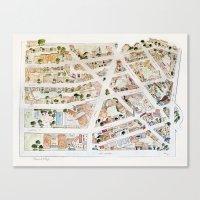 Greenwich Village Map By… Canvas Print