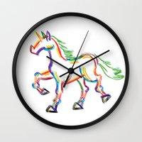 Colored Lines Unicorn Wall Clock