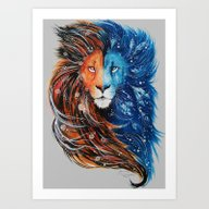 Fire And Ice Lion Art Print