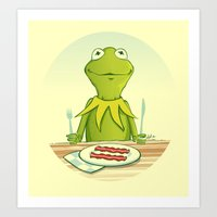 Kermit Loves Facon Art Print