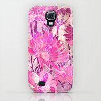 Galaxy S4 Cases featuring pink floral and words by clemm