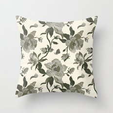 Black Magnolia Pattern Throw Pillow