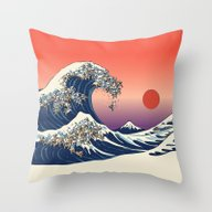 The Great Wave Of Englis… Throw Pillow