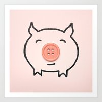 Button Pig Art Print