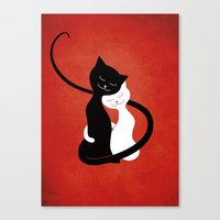 White And Black Cats In Love (red) Canvas Print