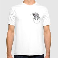 POCKET DOLPHIN Mens Fitted Tee White SMALL