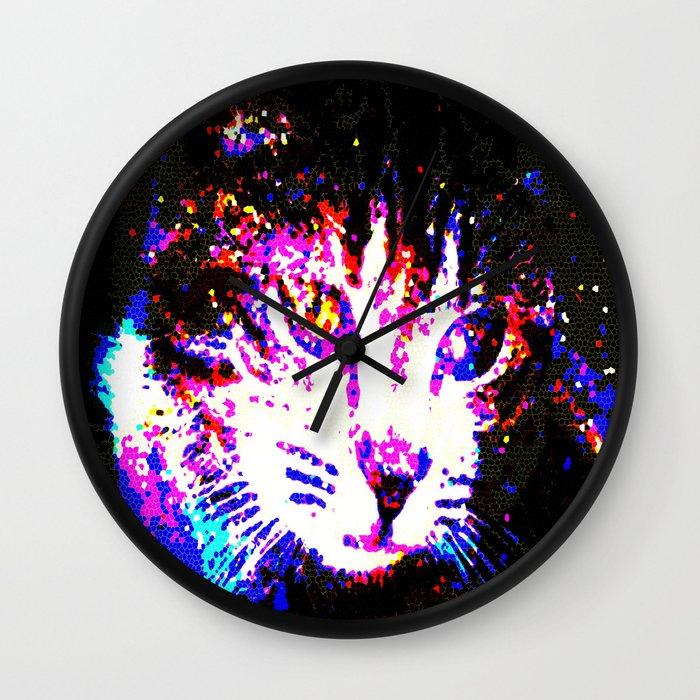 Galaxy Cat Wall Clock by Latidra Washington