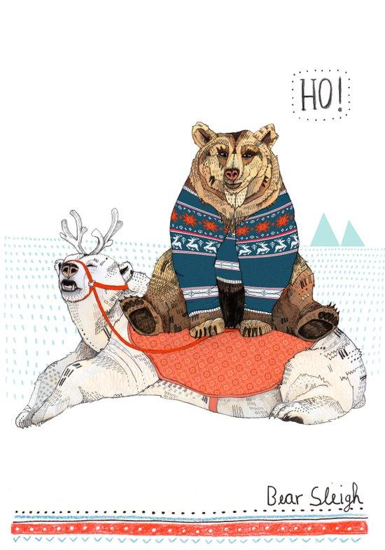Bear Sleigh Art Print