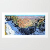 Snowy Grand Canyon South Rim Panorama Art Print