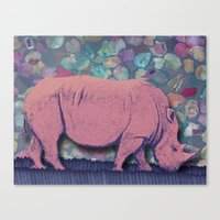 Canvas Print featuring Pink Rhinoceros Collage by Elephant Trunk Studio