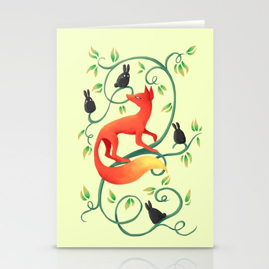 Bunnies and a Fox Stationery Card