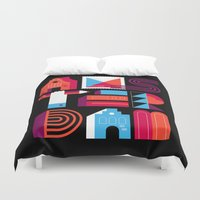 Postcards from Amsterdam / Typography Duvet Cover