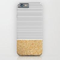 Minimal Gold Glitter Stripes iPhone 6 Slim Case
