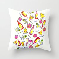 Vices - Illustration - liquor, junk food, beer, smoking, donuts, pizza Throw Pillow