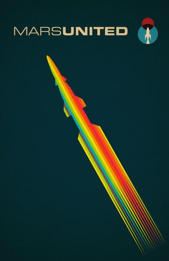 MarsUnited Rainbow Rocket Art Print