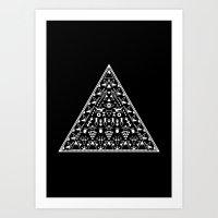 Shaman Triangle, black background Art Print