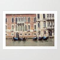 boat parking::venice, italy Art Print