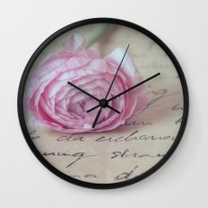 Love Letter With Ranunculus Wall Clock
