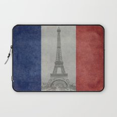 Distressed National Flag of France with Eiffel Tower insert Laptop Sleeve