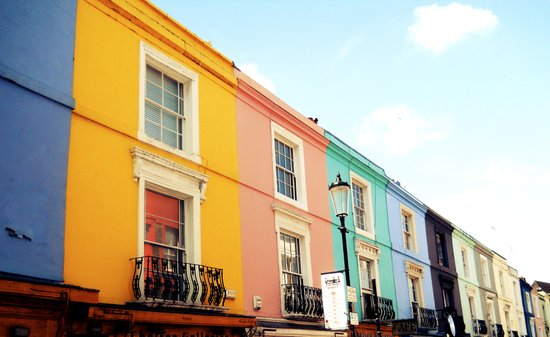 Colourful Houses of Portobello Market Art Print