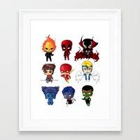 Chibi Heroes Set 2 Framed Art Print