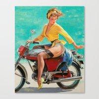 Gil Elvgren - Motorcycle Pinup Girl Canvas Print