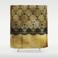 Black lace on gold I Shower Curtain