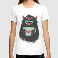 coffee T-shirts featuring Demon with a cup of coffee by Lime