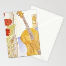 Violin and Roses Stationery Cards
