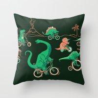 Dinosaurs On Bikes! Throw Pillow