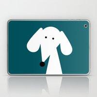 White Dachshund - Turquoise  Laptop & iPad Skin