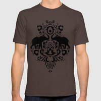 Elephant Damask Black and White Mens Fitted Tee Brown SMALL